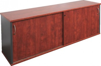 Executive Sliding Door Credenza - Birch/Ironstone Colour