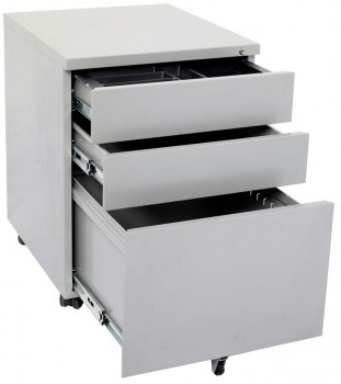 Super Strong Metal Mobile Pedestal - Drawers Open
