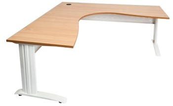 Space System Corner Workstation Beech Top White Under Frame