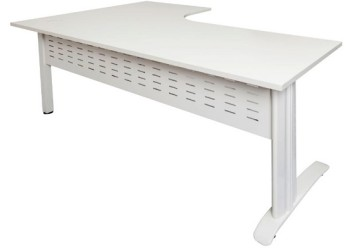 Space System Desk Mate Parchment (off-white) Top White Desk Base