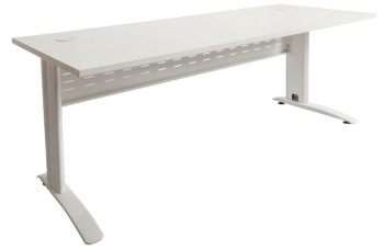 Space System Desk Parchment (off-white) Top White Base