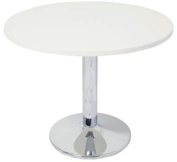 Chrome Disc Base Meeting Table Parchment (off-white) Top