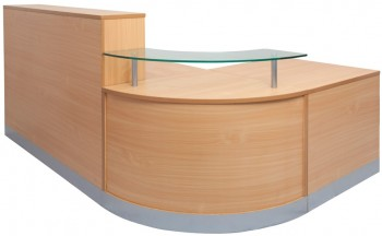 Curve Reception Desk - Front View