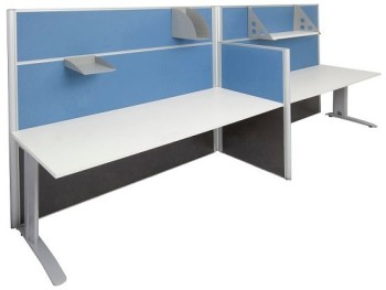 2 Way Desk With Silver Space Legs Blue Screens