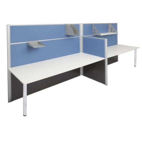 Space System 2 Way Desk Cluster with Chrome Legs