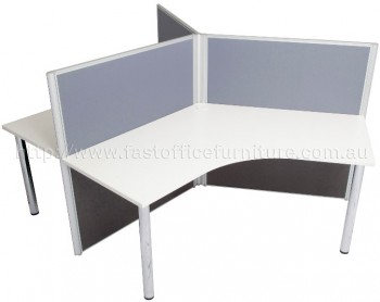 3 Way Workstation with Chrome Legs Grey Screens