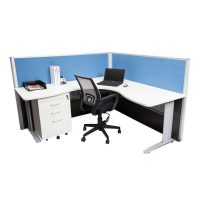 Space System Corner Workstation with Screens