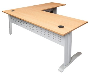 Space System Desk with Attached Right Hand Return Beech Top