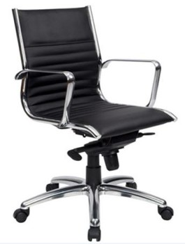 Black Leather Medium Back Chair