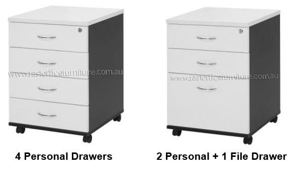 White drawers on wheels