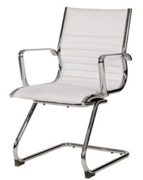 White Leather Visitor Client Chair