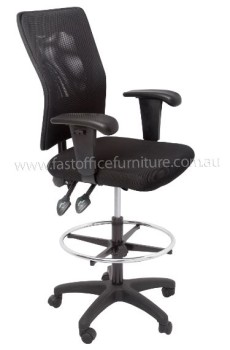 Caprice Drafting Chair, Black Mesh Back