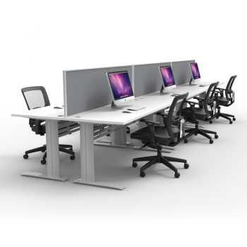 Express Space System 6 Way Desk Cluster, Grey Screens