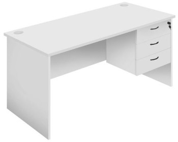 Function Silver Grey Desk with Optional Fixed Drawer Unit