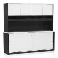 Chill Sliding Door Credenza with Hutch with Doors