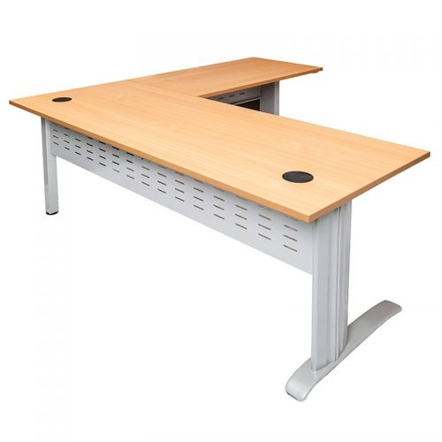 Space System Desk with Attached (Right Hand) Return, Beech Desk Top, Silver Base