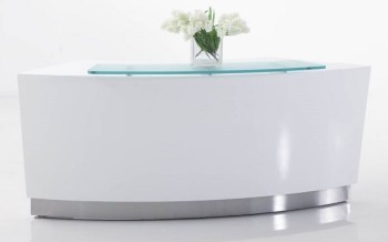 round white gloss reception counter