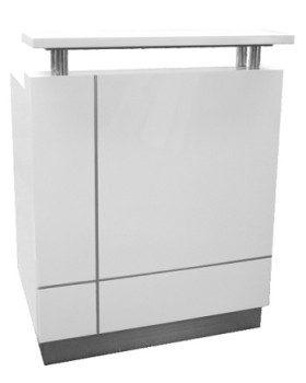 White gloss sales counter
