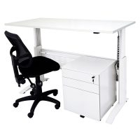 Space System 'Sit Stand' Desk, Stradbroke Mesh Chair and Drawer Unit Package, White Frame, Natural White Desk Top