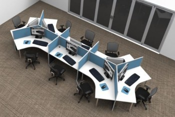 3D Example Five. 8 Way 120 Degree Workstation Desk Pod