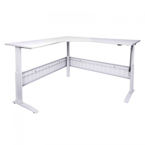 Space System Push Button 'Sit Stand' Height Adjustable Corner Workstation, White Frame, Natural White Desk Top