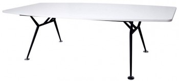 Urban Boat Shape Meeting Table, Parchment (off-white) Table Top