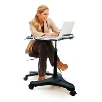 Solo Ascend Deluxe Height Adjustable Sit Stand Laptop Desk, Seated Position