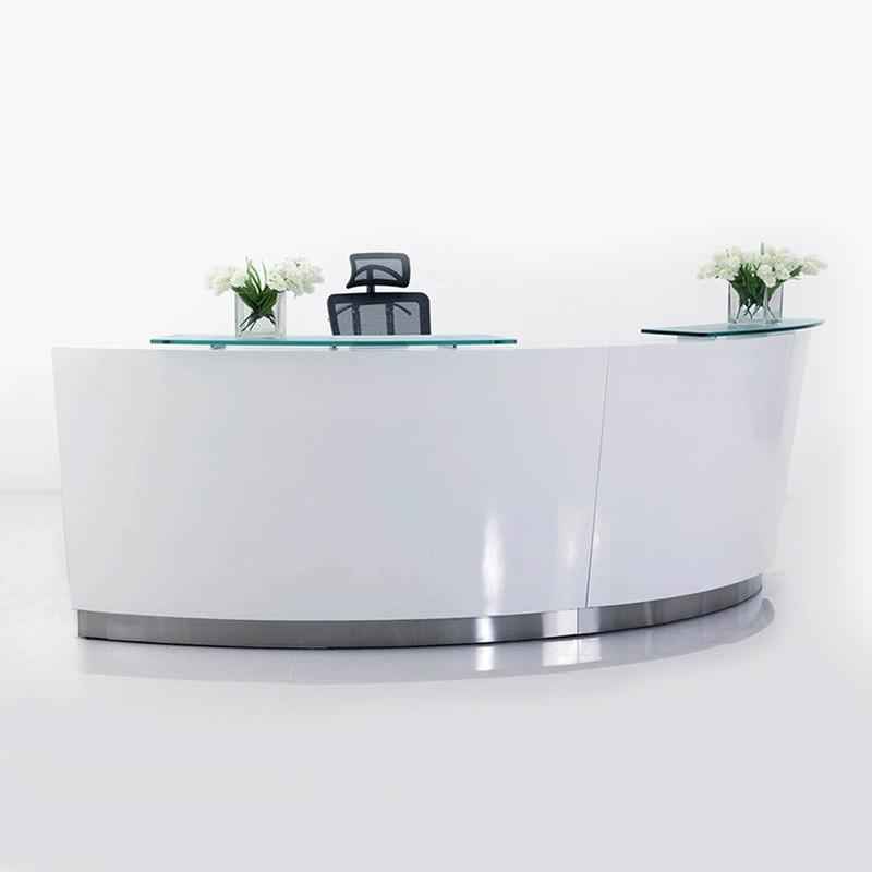 BRILLIANCE WHITE HIGH GLOSS CURVED RECEPTION DESK SINGLE