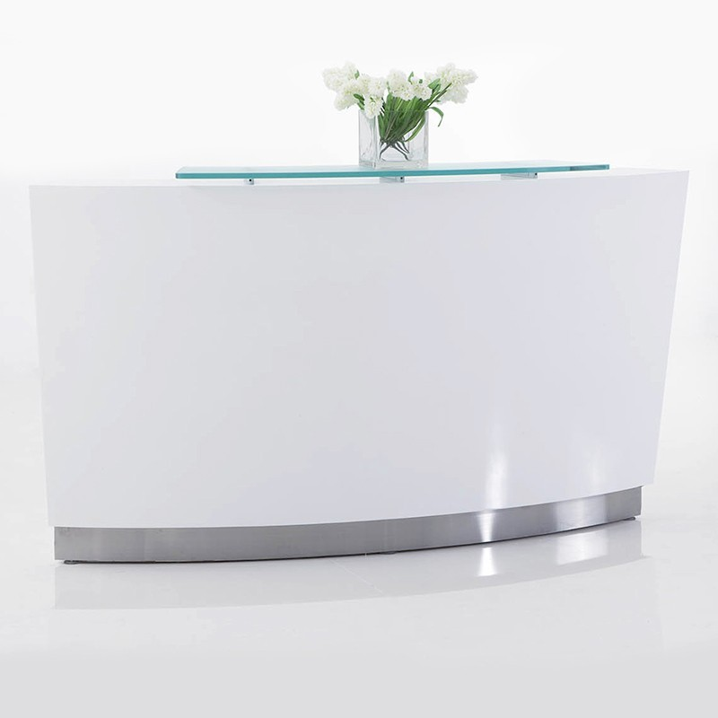 Brilliance White High Gloss Curved Reception Desk Single Module