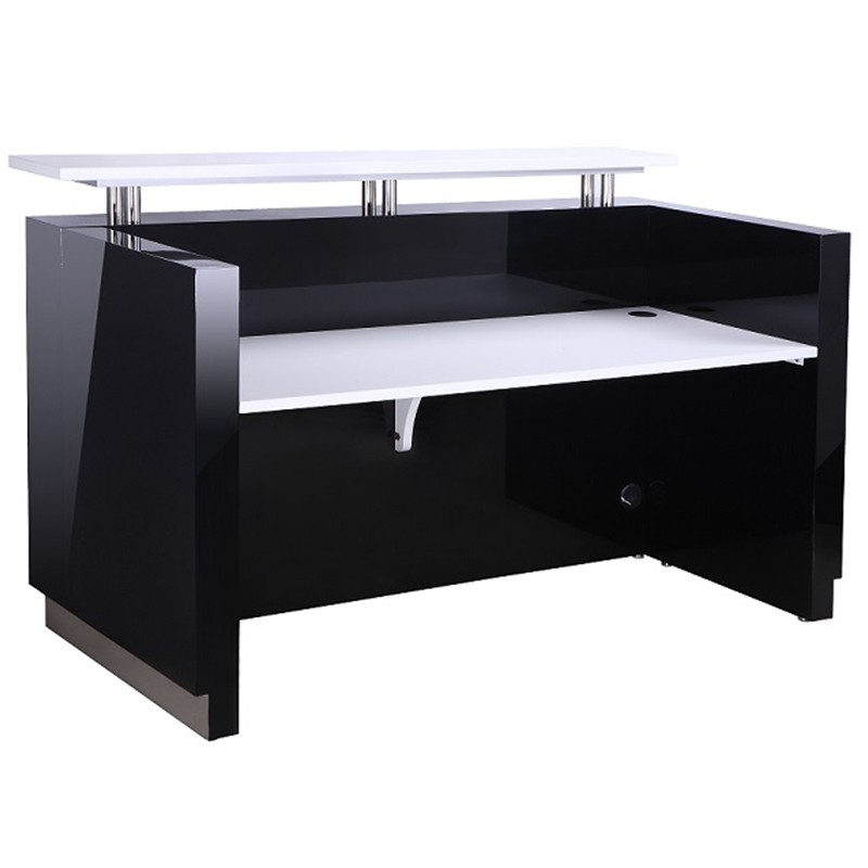 OUTLINE BLACK GLOSS RECEPTION DESK Fast Office Furniture