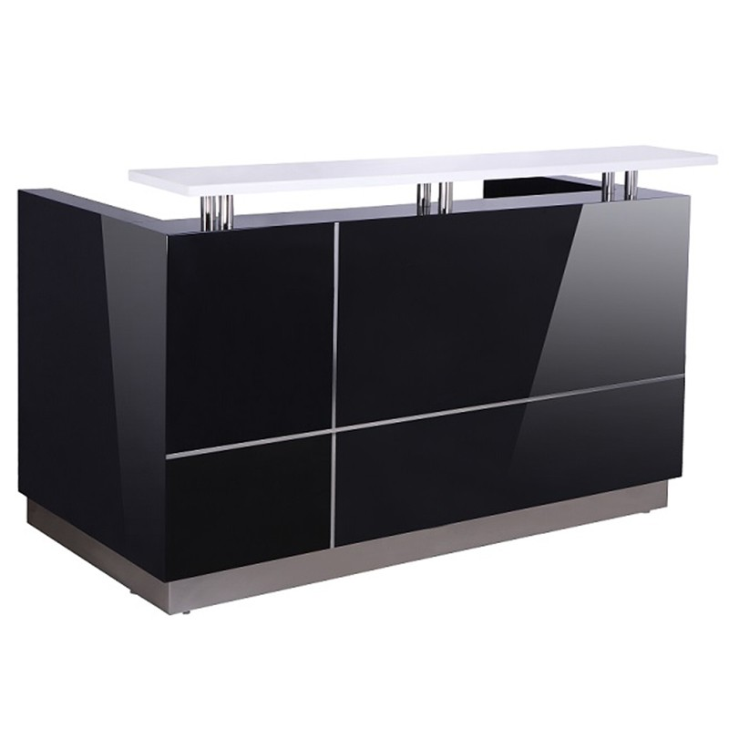 Outline black gloss reception desk fast office furniture for Reception furniture