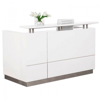 Outline White Gloss Reception Desk