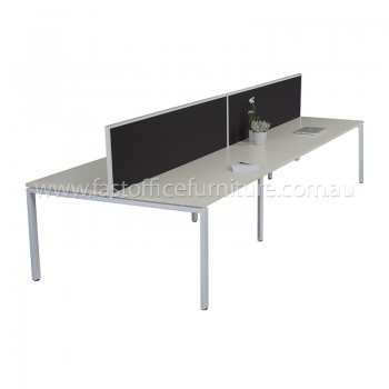 Integral Four Back To Back Desks with Two Screen Dividers