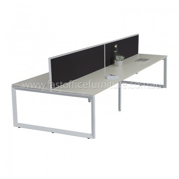 Integral Loop Frame Four Back To Back Desks with Two Screen Dividers