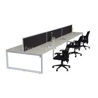 Integral Loop Leg Frame Six Back To Back Desks with Three Screen Dividers