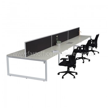 Integral Loop Frame Six Back To Back Desks with Three Screen Dividers