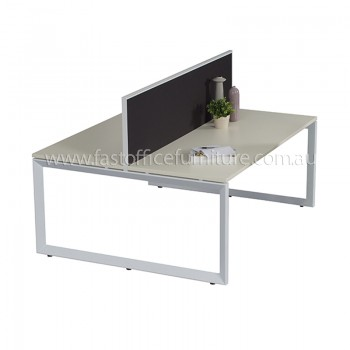 Integral Loop Frame Two Back To Back Desks with Single Screen Divider