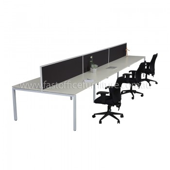 Integral Six Back To Back Desks with Three Screen Dividers