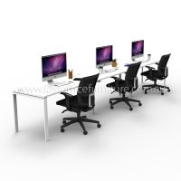 Integral Three In-Line Attached Desks