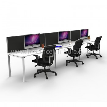 Integral Three In-Line Attached Desks with Three Screen Dividers