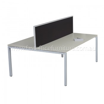 Integral Two Back To Back Desks with Single Screen Divider