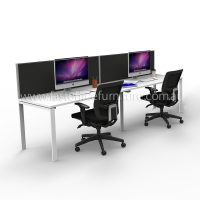 Integral Two In-Line Attached Desks with Two Screen Dividers
