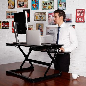 Black Elevate Height Adjustable Desk Top Stand