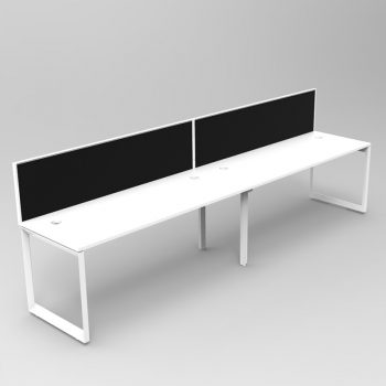 Integral Loop Frame 2 Person In-Line Desk with Screen Divider