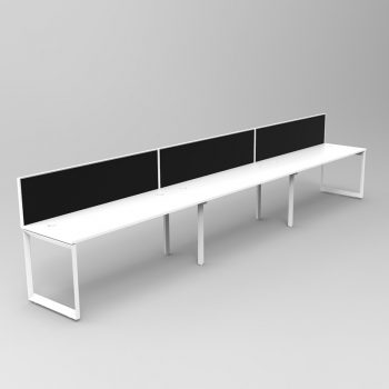 Integral Loop Frame 3 Person In-Line Desk with Screen Divider