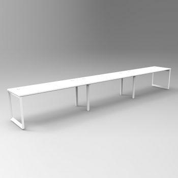 Integral Loop Frame 3 Person In-Line Desk