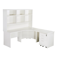 Space Sytem Squareline Corner Workstation with Hutch and Mobile Drawer Unit