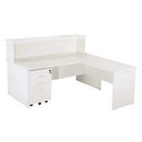 Space System Squareline Desk and Cowl with Mobile Drawer Unit