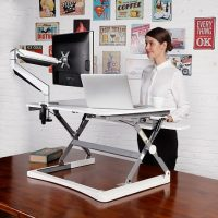 White Elevate Height Adjustable Desk Top Stand
