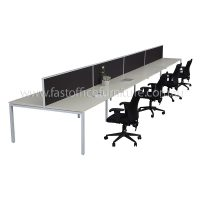 Integral Eight Back To Back Desks with Four Screen Dividers